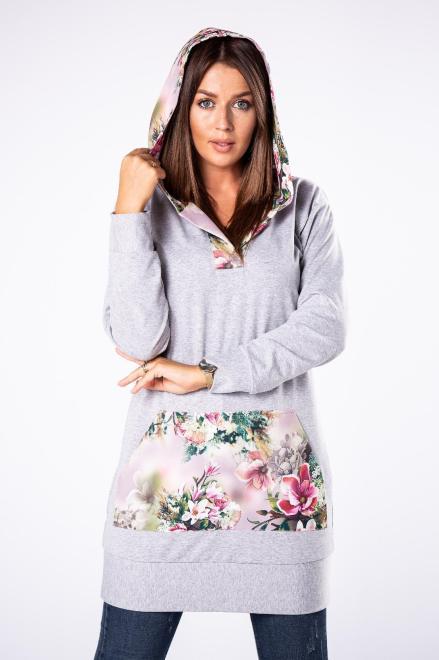 LA VIE  długa bluza z kapturem w kwiatowy wzór M80837 Блуза Серый оптом