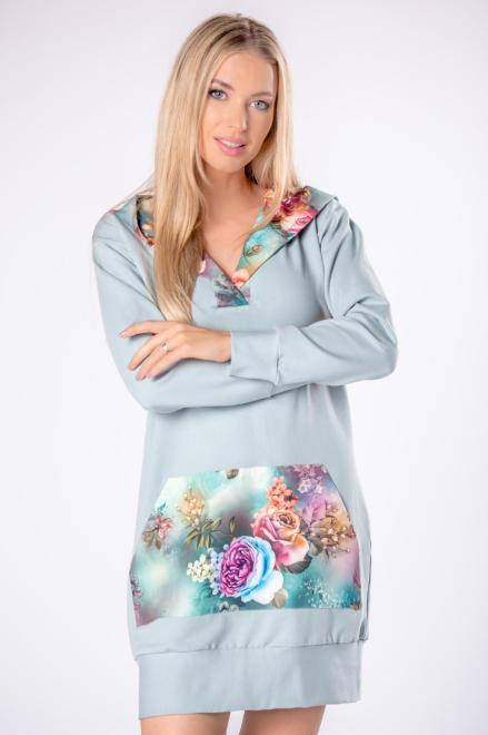 LA VIE  długa bluza z kapturem w kwiatowy wzór M80837 Блуза Зеленый оптом