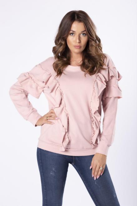 dzianinowa bluza z falbanami M81586 Блуза Розовый оптом