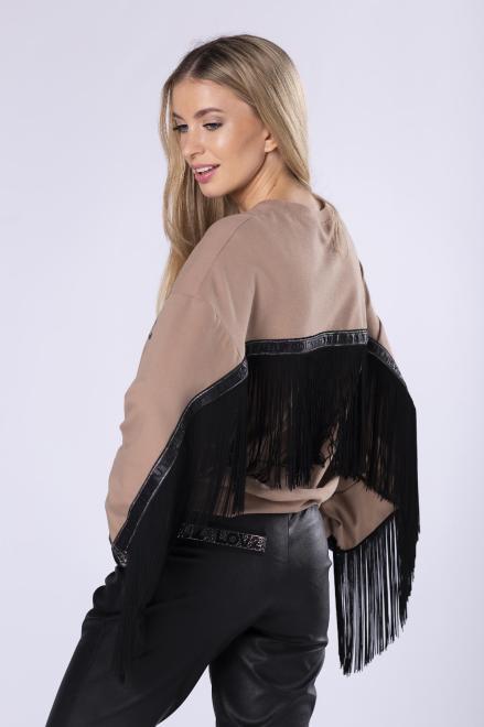 STELLA VERA  bawełniana bluza z frędzelkami i napisem na biuście M81732 Блуза Бежевый оптом