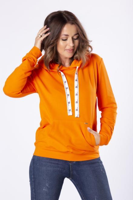 SI  bawełniana bluza z kapturem i ozdobnym ściągaczem M79897 Блуза Оранжевый оптом