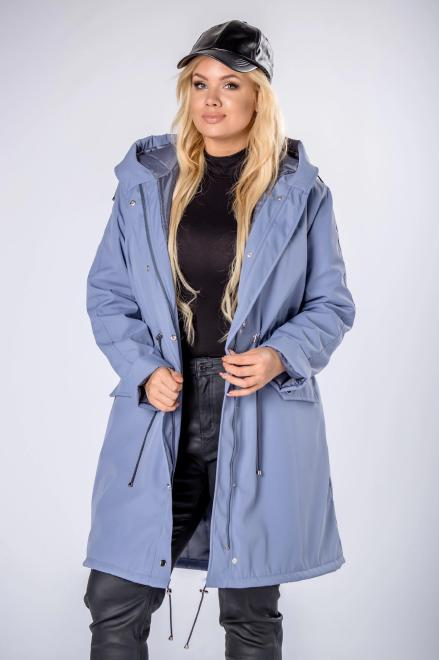 HOLI  przeciwdeszczowy płaszcz z kapturem i ściągaczem w pasie M81651 Плащ Голубой оптом