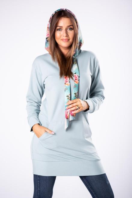 LA VIE  długa bluza z kapturem w kwiatowy print M80833 Блуза Зеленый оптом