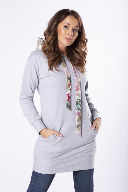 LA VIE  długa bluza z kapturem w kwiatowy print M80833 Блуза Серый оптом