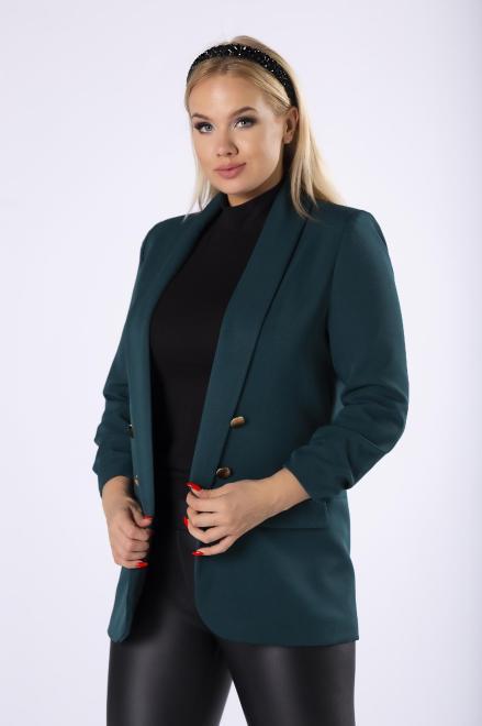 LENA  dwurzędowy żakiet z marszczonymi rękawami M81184 Жакет Зеленый оптом