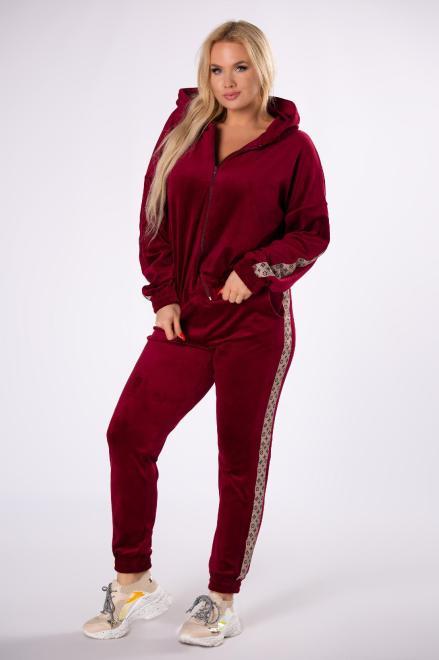 M&M  welurowy komplet z ozdobnymi lampasami M81401 Трикотажные брюки Красный оптом