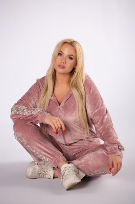 M&M  welurowy komplet z ozdobnymi lampasami M81401 Трикотажные брюки Розовый оптом