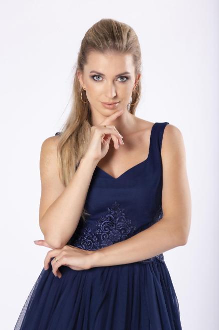 BICOTONE  koktajlowa sukienka z koronkową wstawką w pasie M81131 Платье Темносиний оптом