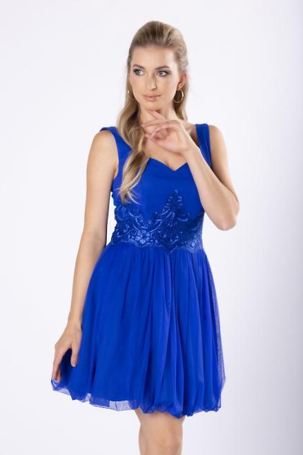 BICOTONE  koktajlowa sukienka z koronkową wstawką w pasie M81131 Платье Голубой оптом
