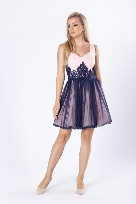 BICOTONE  koktajlowa sukienka z koronkową wstawką w pasie M81131 Платье Розовый оптом