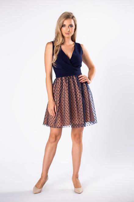 BICOTONE  koktajlowa sukienka z kopertowym dekoltem, tiulowym dołem i wiązaniem w pasie M81690 Платье Темносиний оптом