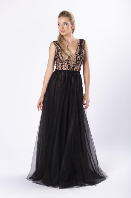 ARIANA  elegancka sukienka maxi z haftowanym wykończeniem i tiulowym dołem M81742 Платье Черный оптом