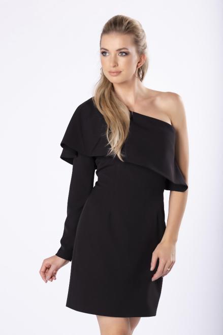 ARIANA  dopasowana sukienka na jedno ramię z efektowną falbaną na biuście M81743 Платье Черный оптом