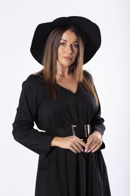 Rivabella  koszulowa sukienka maxi o trapezowym kroju z dekoltem w serek M81748 Платье Черный оптом