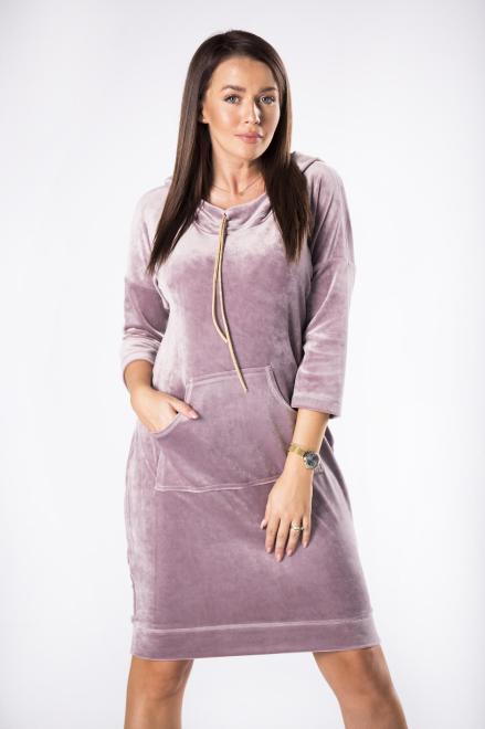 MARI MARI  welurowa sukienka z kapturem M81494 Платье Фиолетовый оптом