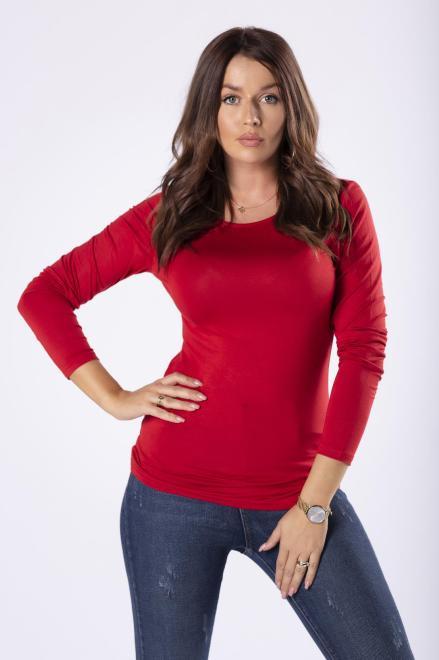 AMADEO  monochromatyczna bluzka z długimi rękawami  M81520 Блузка Красный оптом
