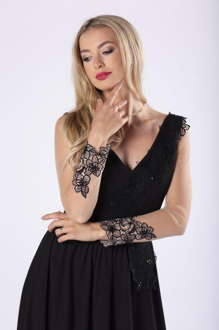 ARIANA  elegancka sukienka maxi z haftowanym wykończeniem M81627 Платье Черный оптом
