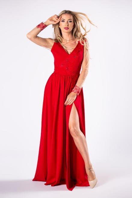 ARIANA  elegancka sukienka maxi z haftowanym wykończeniem M81627 Платье Красный оптом