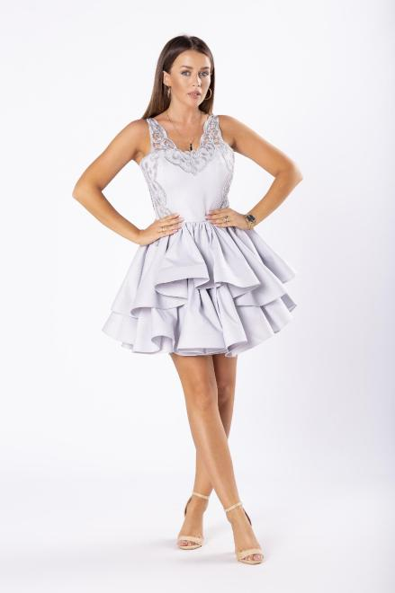 ARIANA  koktajlowa sukienka z kontrafałdami i gipiurową górą M81071 Платье Серый оптом