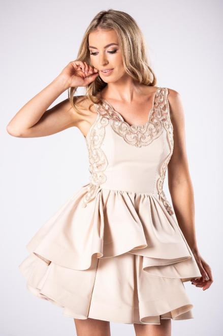 ARIANA  koktajlowa sukienka z kontrafałdami i gipiurową górą M81071 Платье Бежевый оптом