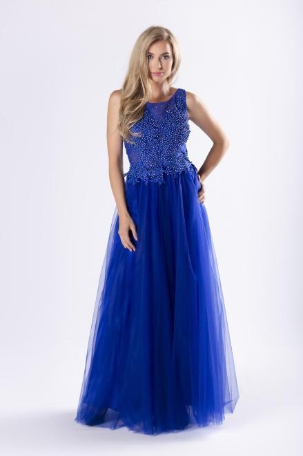 Pretty Women  tiulowa sukienka maxi z gorsetowym wiązaniem na plecach M63922 Платье Голубой оптом