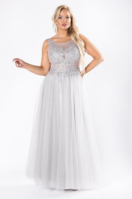 Pretty Women  tiulowa sukienka maxi z gorsetowym wiązaniem na plecach M63922 Платье Серый оптом