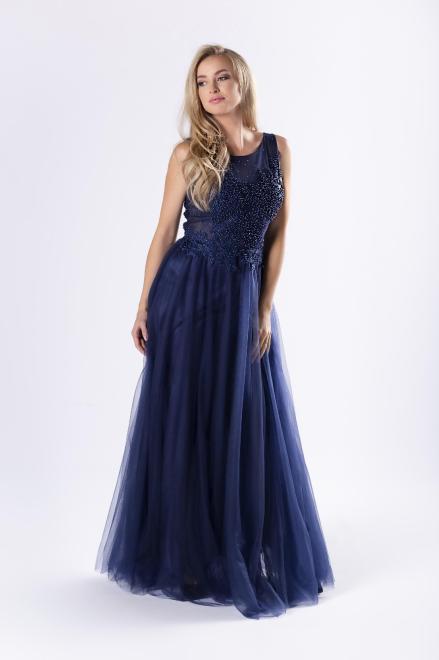 Pretty Women  tiulowa sukienka maxi z gorsetowym wiązaniem na plecach M63922 Платье Темносиний оптом