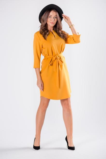 sukienka o prostym kroju z wiązaniem w pasie M81171 Платье Желтый оптом