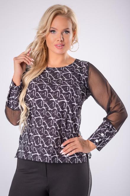 M&M  wzorzysta bluzka z tiulowymi rękawami M81372 Блузка Черный оптом