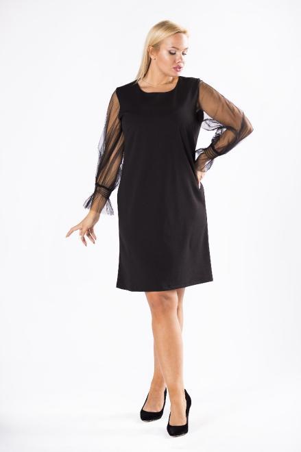 WESLEY  taliowana sukienka z tiulowymi rękawami M81308 Платье Черный оптом