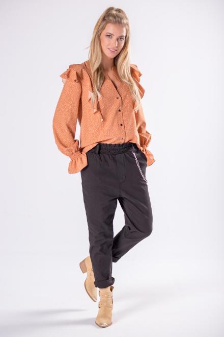 STELLA VERA  koszula z falbankami na ramionach i bufiastymi rękawami M81370 Блузка Бежевый оптом