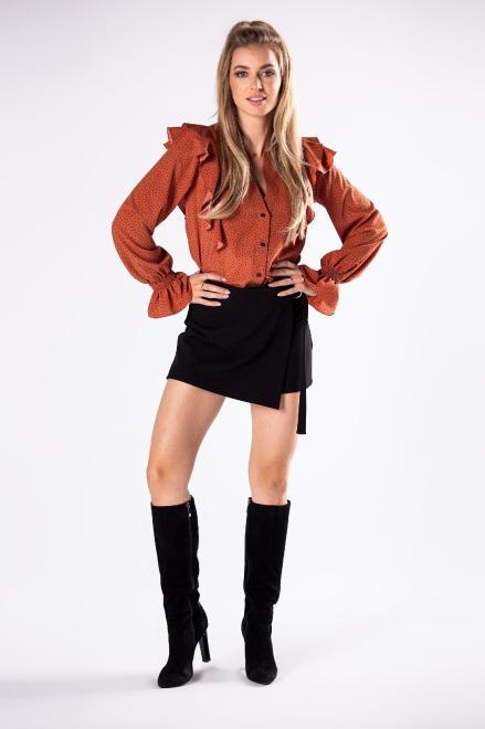 LA VIE  koszula z falbankami na ramionach i bufiastymi rękawami M81370 Блузка Оранжевый оптом