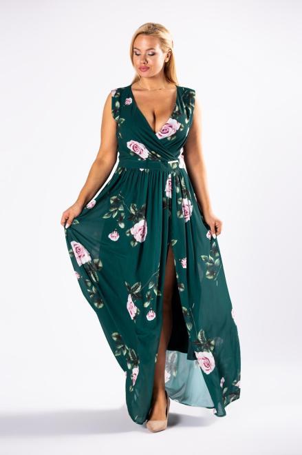 QUARELLE  elegancka sukienka maxi w róże z kopertowym dekoltem i rozporkiem z przodu M81230 Платье Зеленый оптом