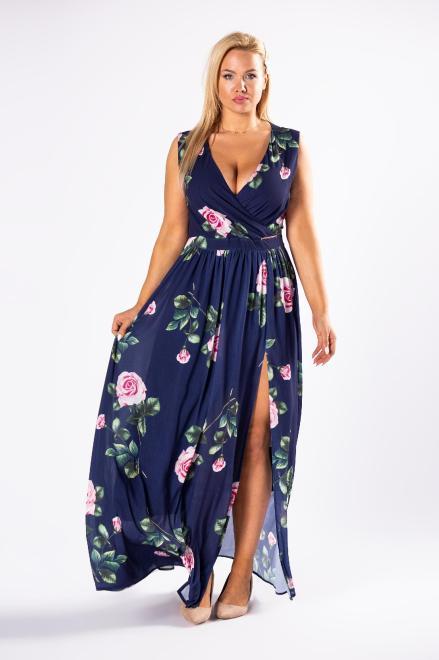 QUARELLE  elegancka sukienka maxi w róże z kopertowym dekoltem i rozporkiem z przodu M81230 Платье Темносиний оптом