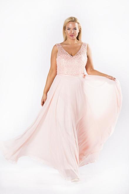 Pretty Women  sukienka maxi z koralikami oraz gorsetowym wiązaniem na plecach M81145 Платье Розовый оптом