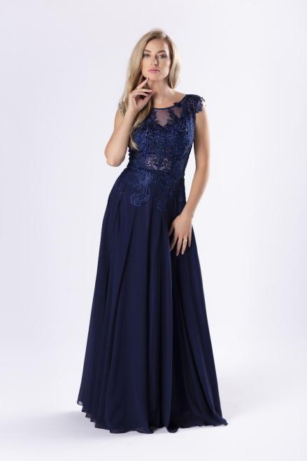 Pretty Women  elegancka sukienka maxi z gipiurową górą z kryształkami i głębokim dekoltem na plecach M79872 Платье Темносиний оптом