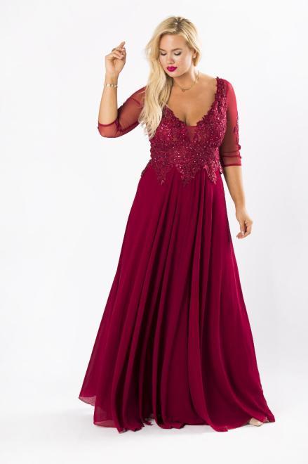 AMADEO  wieczorowa sukienka maxi z haftowaną górą z błyszczącymi kryształkami i rękawem 3/4 M80506 Платье Бордовый оптом