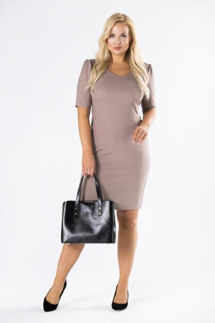 DARTEX  dopasowana sukienka z bufkami na ramionach M80623 Платье Бежевый оптом