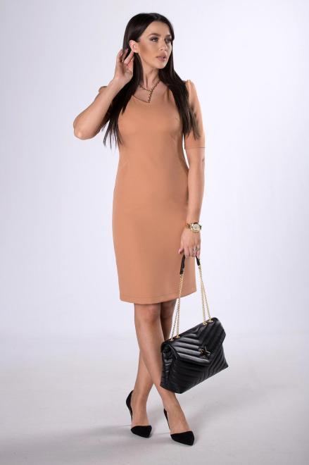 DARTEX  dopasowana sukienka z bufkami na ramionach M80623 Платье Коричневый оптом