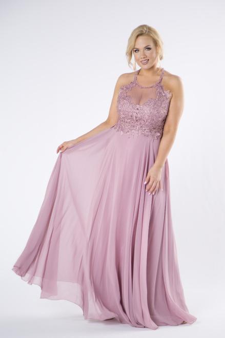 Pretty Women  tiulowa sukienka maxi z haftowaną górą z błyszczącymi kryształkami i dekoltem typu halter M79947 Платье Розовый оптом