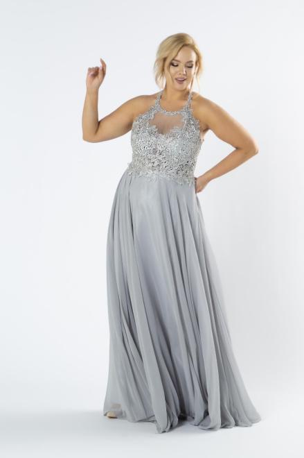 Pretty Women  tiulowa sukienka maxi z haftowaną górą z błyszczącymi kryształkami i dekoltem typu halter M79947 Платье Серый оптом