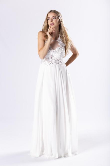 Pretty Women  tiulowa sukienka maxi z haftowaną górą z błyszczącymi kryształkami i dekoltem typu halter M79947 Платье Белый оптом