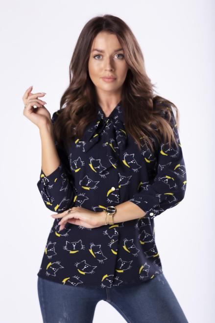 LENA  wzorzysta koszula z wiązaniem przy szyi M81187 Блузка Темносиний оптом