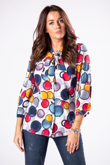 LENA  wzorzysta koszula z wiązaniem przy szyi M81187 Блузка Multikolor оптом