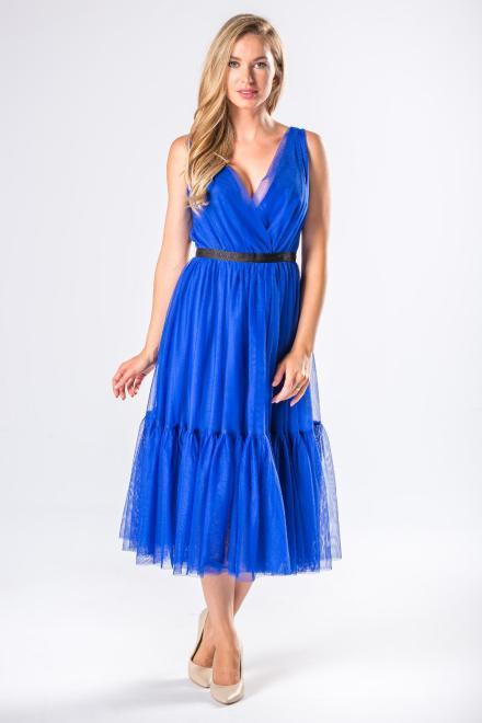 WOX  tiulowa sukienka midi z kopertowym dekoltem i falbanami M81150 Платье Голубой оптом