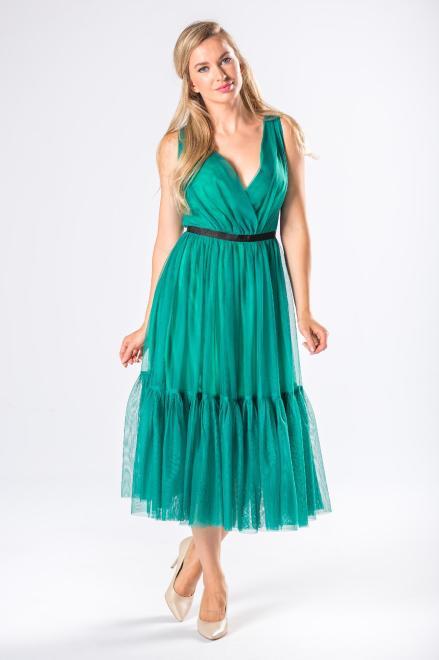 WOX  tiulowa sukienka midi z kopertowym dekoltem i falbanami M81150 Платье Зеленый оптом