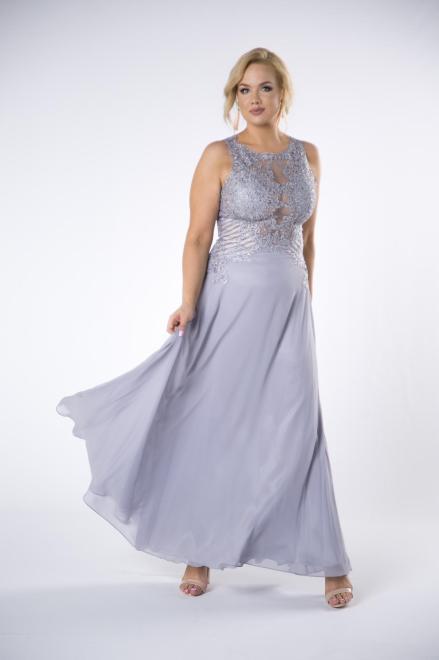 Pretty Women  tiulowa sukienka maxi z haftowaną górą M74901 Платье Серый оптом
