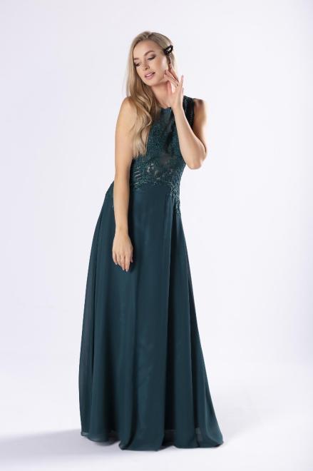 Pretty Women  tiulowa sukienka maxi z haftowaną górą M74901 Платье Зеленый оптом