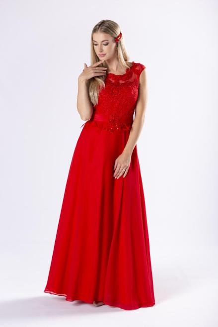 Pretty Women  elegancka sukienka maxi z gipiurową górą z cekinami oraz gorsetowym wiązaniem na plecach M69705 Платье Красный оптом