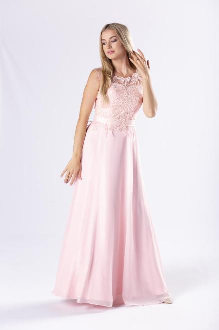 Pretty Women  elegancka sukienka maxi z gipiurową górą z cekinami oraz gorsetowym wiązaniem na plecach M69705 Платье Розовый оптом
